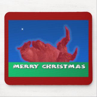 Merry Christmas Llama Rolls in Dirt Bath Mouse Pad