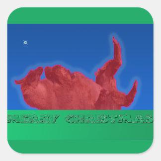 Merry Christmas Llama Rolls in Dirt Bath Sticker