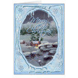 MERRY CHRISTMAS LOG CABIN by SHARON SHARPE Greeting Card