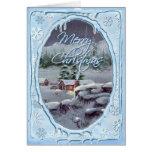 MERRY CHRISTMAS LOG CABIN by SHARON SHARPE Greeting Card