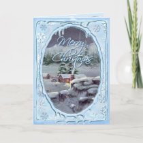 MERRY CHRISTMAS LOG CABIN by SHARON SHARPE Holiday Card
