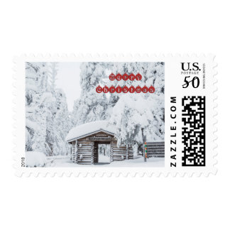 Merry Christmas - Log cabin entrance in Finland Postage