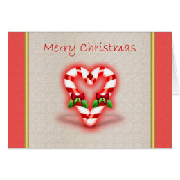 Merry Christmas love heart candy cane mistle toe Card