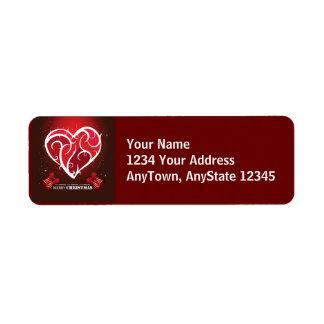 Merry Christmas Love Heart Template Return Address Label