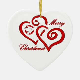 Merry Christmas Love & Peace - Add Your Name Ornaments
