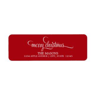Merry Christmas Lowercase Script | Red Return Address Label