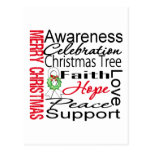 Merry Christmas Lung Cancer Ribbon Collage Postcard