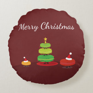 Merry Christmas Macarons | Round Pillow