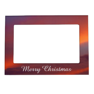 Merry Christmas magnetic frame - Pink cloud design
