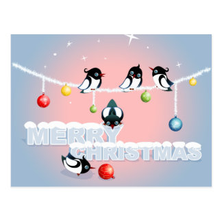 Merry Christmas - Magpies Bubbles Snow Post Card