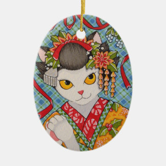 Merry Christmas Maiko Kitty Oval Ceramic Ornament