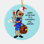 Merry Christmas Mail Carrier Double-Sided Ceramic Round Christmas Ornament