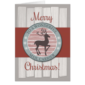 Merry Christmas Mail Carrier with Rustic Reindeer Card