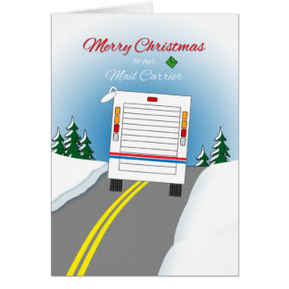Merry Christmas Mailtruck for Mail Carrier Card