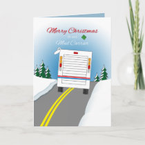 Merry Christmas Mailtruck for Mail Carrier Holiday Card
