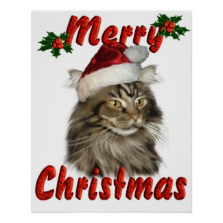 Merry Christmas Maine Coon Cat print