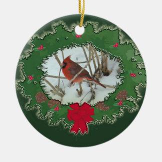 Merry Christmas Male Cardinal Songbird Ceramic Ornament