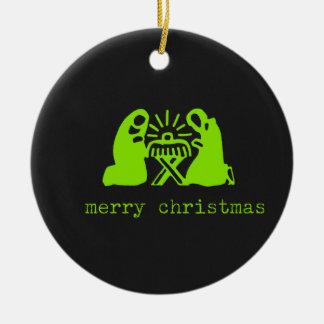 Merry Christmas Manger Scene chalkboard Christmas Ornaments