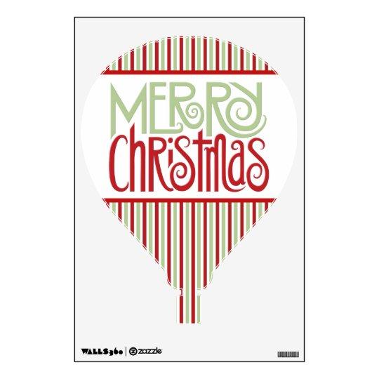 Merry Christmas margarita green Hot Air Balloon Wall Decal