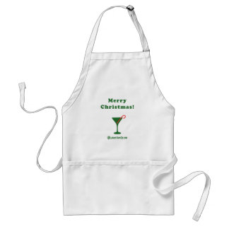 Merry Christmas Martini with Candy Cane Adult Apron