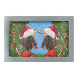 Merry Christmas Mary Chris Moose Belt Buckle