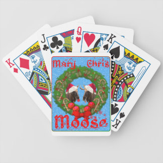Merry Christmas Mary Chris Moose Bicycle Playing Cards