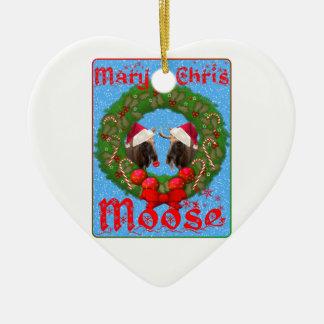 Merry Christmas Mary Chris Moose Ceramic Ornament