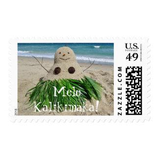 Merry Christmas/ Mele Kalikimaka Snowman Sandman Stamps