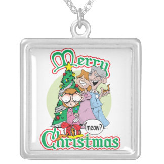 Merry Christmas Meow Square Pendant Necklace