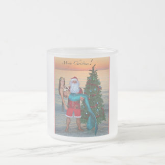 Merry Christmas Mermaid and Santa on a Frosted Mug