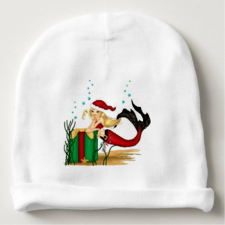 merry christmas mermaid santa baby hat