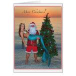 Merry Christmas Mermaid with Santa on the Beach Greeting Card