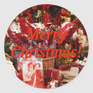 Merry Christmas! Merry Christmas in English. rf Classic Round Sticker