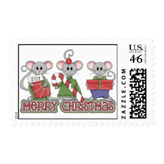 Merry Christmas Mice Postage Stamps