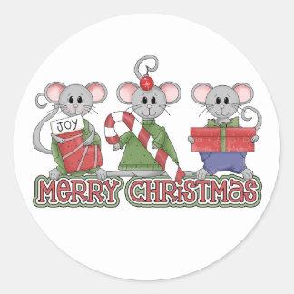 Merry Christmas Mice Round Stickers