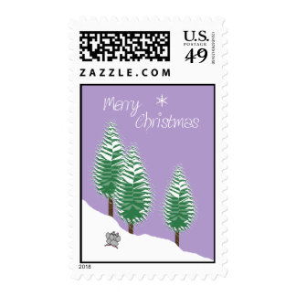 Merry Christmas Mice Trees Lavender Candy Color Postage Stamp