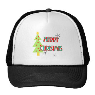 merry christmas mid century modern tree red blue trucker hat