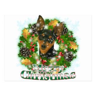 Merry Christmas Min Pin Postcard
