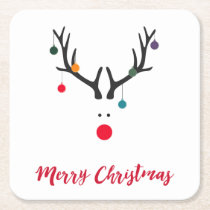 Merry Christmas minimalist and abstract reindeer Square Paper Coaster