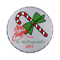Merry Christmas Mints- Personalized Refillable Candy Tin