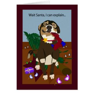 Merry Christmas mischievous dog Card