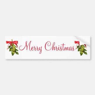 merry christmas mistletoe bumper sticker