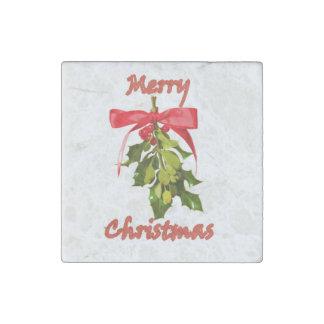 merry christmas mistletoe stone magnet