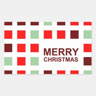 merry christmas (mod squares) rectangular sticker