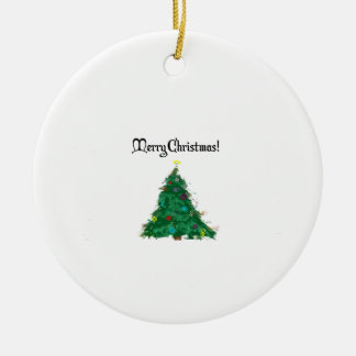 Merry Christmas Modern Art Tree Ceramic Ornament