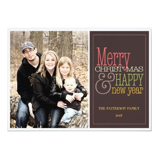Merry Christmas Modern Brown Holiday Photo Card