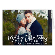 Merry Christmas Modern Brush Script Fold Card