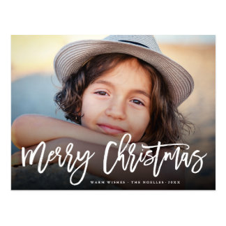 Merry Christmas Modern Brush Script Photo Postcard