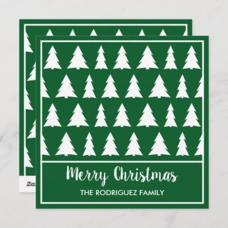 Merry Christmas Modern Green White Tree Pattern Holiday Card