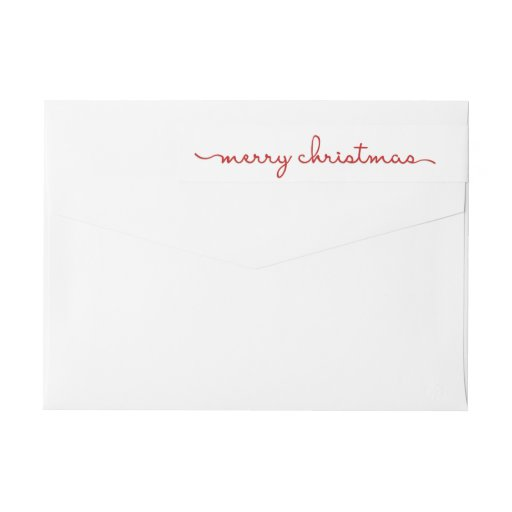 Merry Christmas Modern Hand Lettered Wrap Label Wraparound Return Address Label